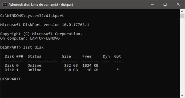 Folosirea diskpart pentru a lista unitățile de stocare fixe de pe un PC
