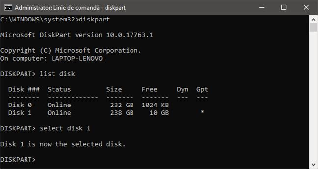 Folosirea diskpart pentru a selecta unitatea de disc