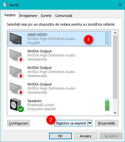 Alegerea dispozitivul de redare audio în fereastra Sunet
