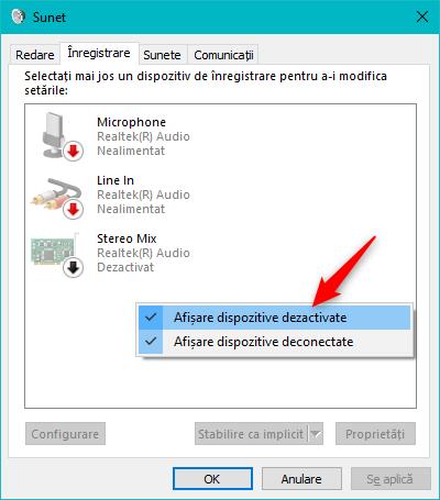 Afișarea dispozitivelor deconectate sau dezactivate în fereastra Sunet