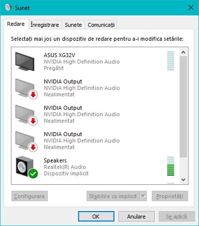 Fereastra Sunet din Windows 10
