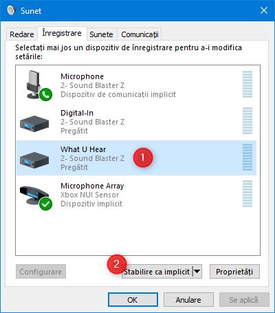 Setarea dispozitivul de înregistrare implicit, în fereastra Sunet