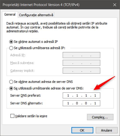 Configurarea unor noi servere DNS