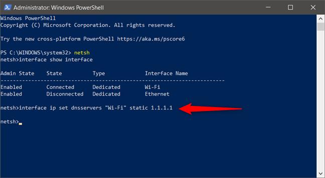 Comanda interface ip set dnsservers setează un server DNS nou