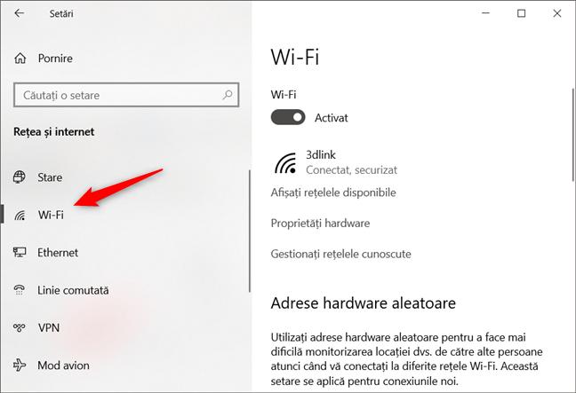 Conexiunea de rețea prin Wi-Fi