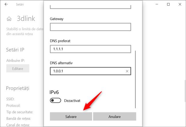 Salvarea noilor setări pentru serverele DNS