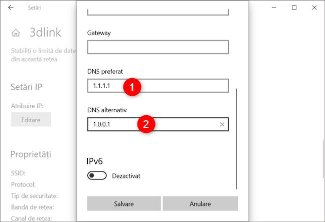 Serverul DNS preferat și serverul DNS alternativ