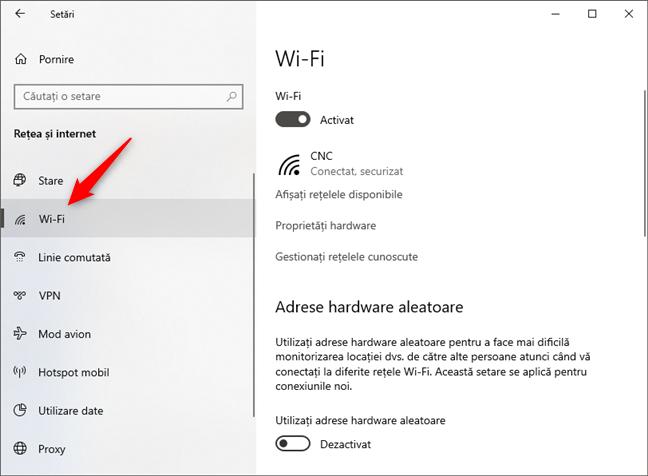 Intrarea Wi-Fi din categoria Rețea și internet a Setărilor