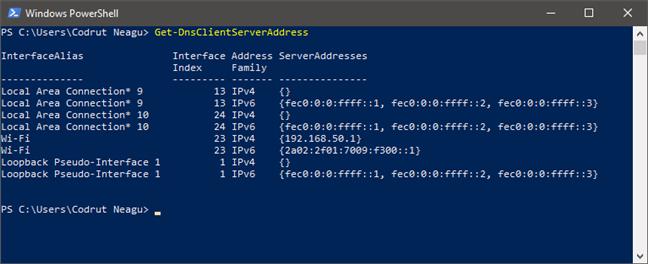 Executarea comenzii Get-DnsClientServerAddress pentru a afla serverele DNS în PowerShell