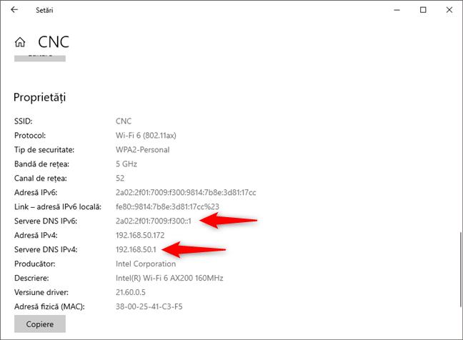 Serverele DNS folosite de conexiunea de rețea