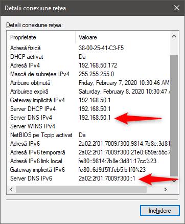 Adresele IP ale serverelor DNS