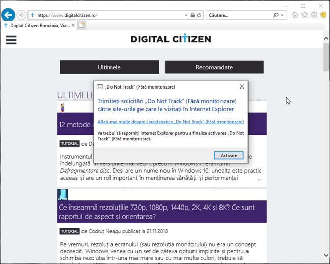 Confirmarea activării Fără monitorizare (Nu urmări) în Internet Explorer