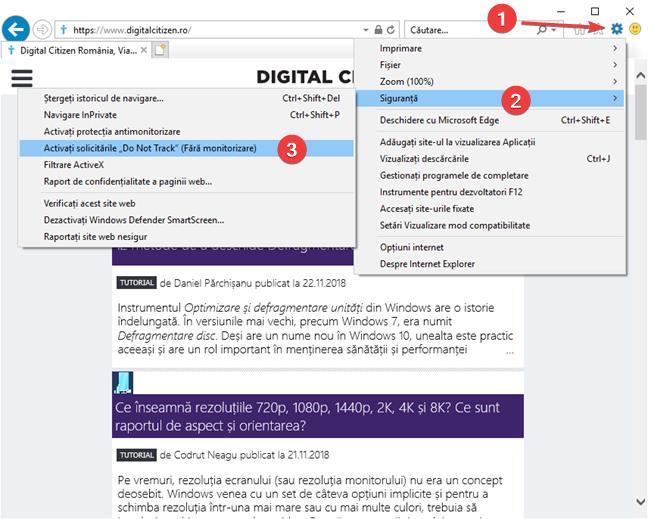 Activează Fără monitorizare (Nu urmări) în Internet Explorer