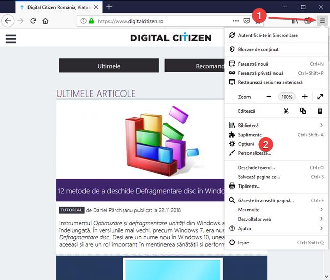 Deschide Opțiuni în Mozilla Firefox