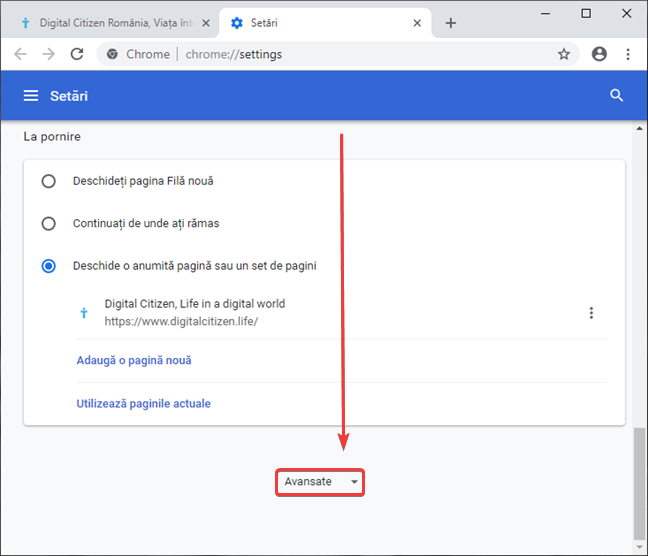 Deschide setările avansate în Google Chrome