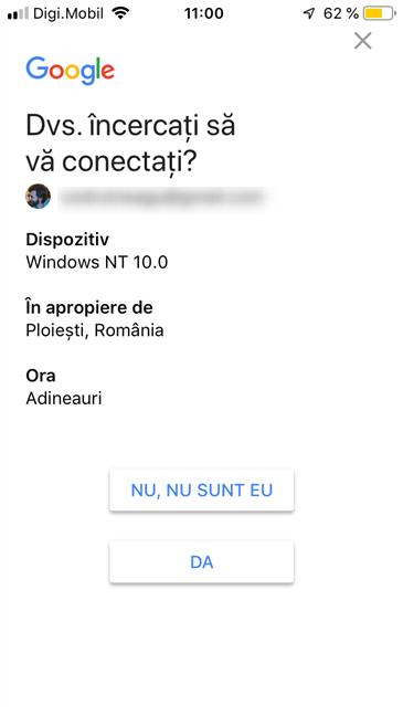 Verificarea în doi pași pentru contul Gmail