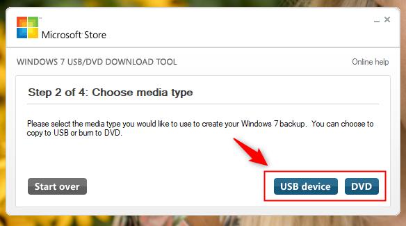Alegerea suportului media (stick USB sau DVD) cu Windows