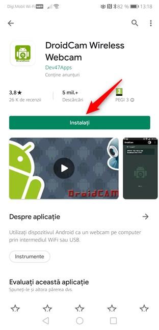 Instalarea aplicației DroidCam Wireless Webcam din Magazinul Play