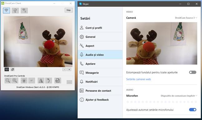 Folosirea unui telefon cu Android ca webcam în Skype pe PC