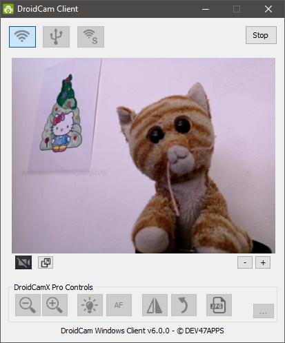 DroidCam afișează o previzualizare live de la camera de pe telefonul tău cu Android