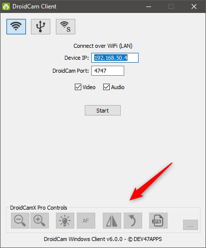 În DroidCamX (versiunea plătită) sunt disponibile opțiuni suplimentare