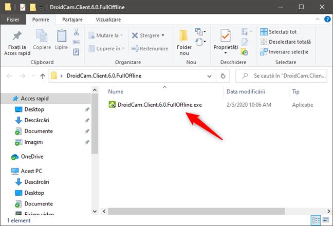 Fișierul de instalare DroidCam Client pentru Windows