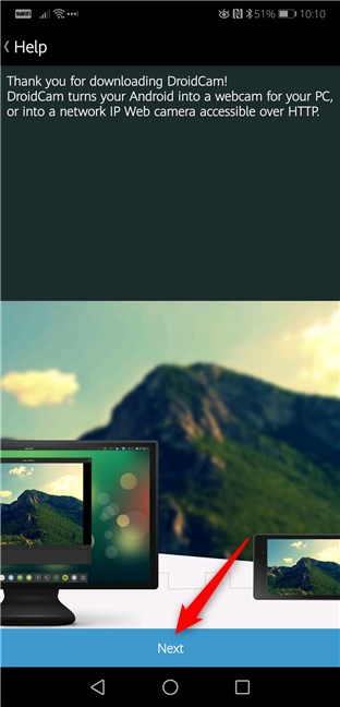 Mesajul de bun venit de la aplicația DroidCam Wireless Webcam pentru Android