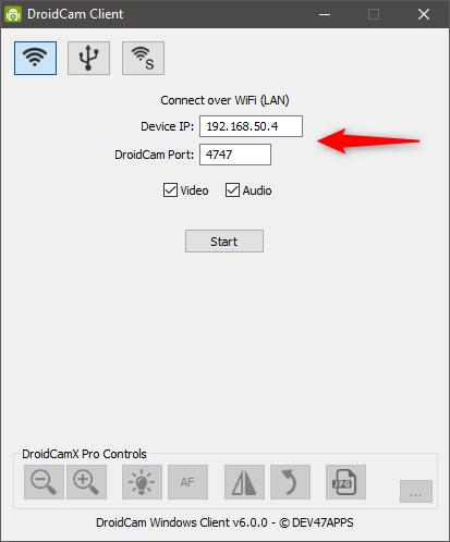 Configurarea adresei IP, a portului, și a stream-urilor video și audio în aplicația DroidCam Client din Windows