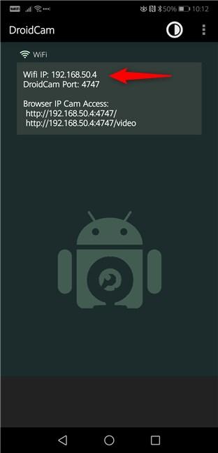 Adresa IP și Portul folosite de DroidCam