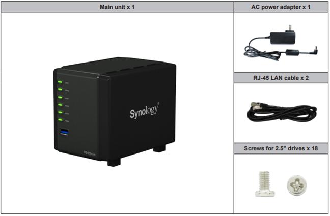 Synology DiskStation DS419slim: ce găsești în cutie