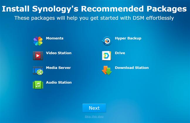 Instalarea pachetelor software recomandate de Synology