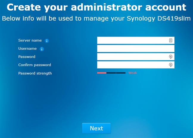 Synology DiskStation DS419slim - crearea unui cont de administrator