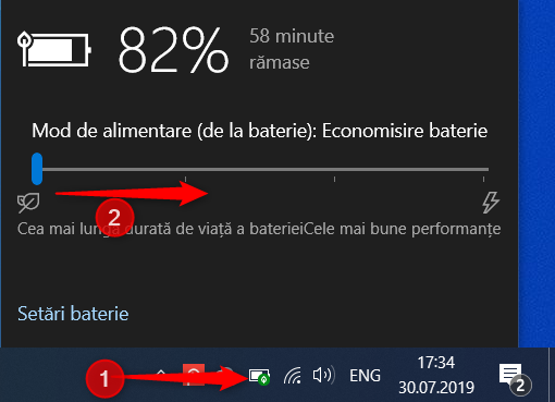 Dezactivarea modului Economisire baterie în Windows 10