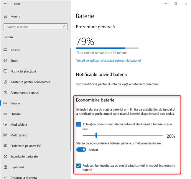 Configurarea modului Economisire baterie în Windows 10
