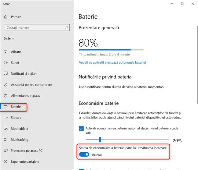 Activarea modului Economisire baterie în Windows 10