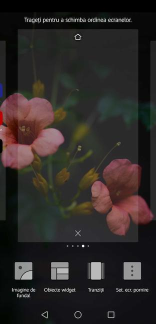 Apasă pe X pentru a elimina pagina adițională a Ecranului de pornire