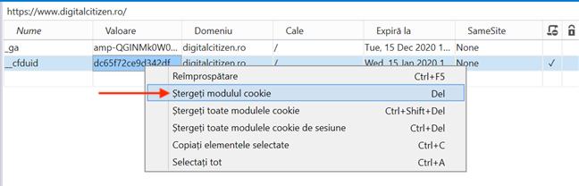 Ștergeți modulul cookie elimină cookie-ul selectat
