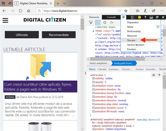 Deschide fila <em>Stocare</em> în Microsoft Edge