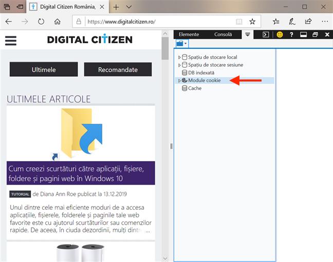 Accesează Module cookie în Microsoft Edge