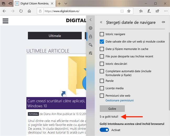 Microsoft Edge te anunță când a terminat de șters datele