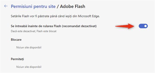 Se întreabă înainte de rularea Flash (recomandat dezactivat)