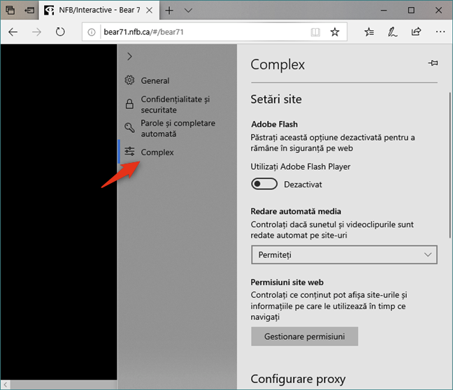 Setări avansate în Microsoft Edge