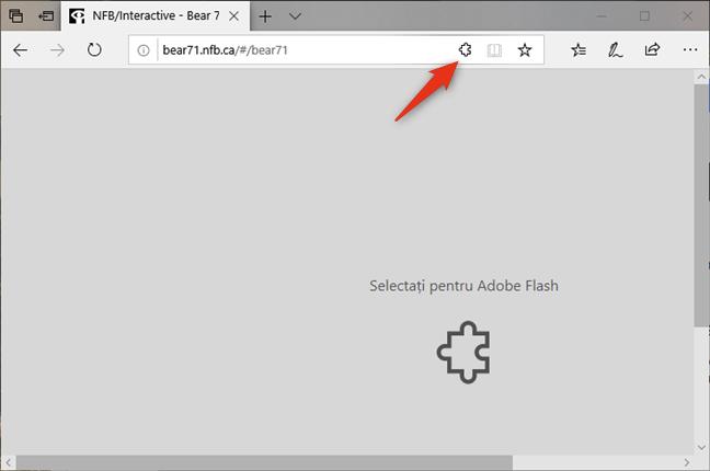 Apasă pe pictograma puzzle din Microsoft Edge pentru Windows 10
