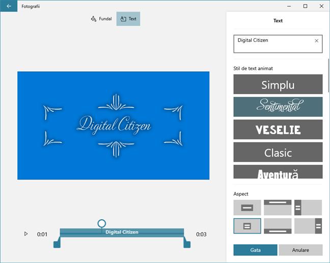 Editor video îți oferă posibilitatea de a personaliza stilul textului