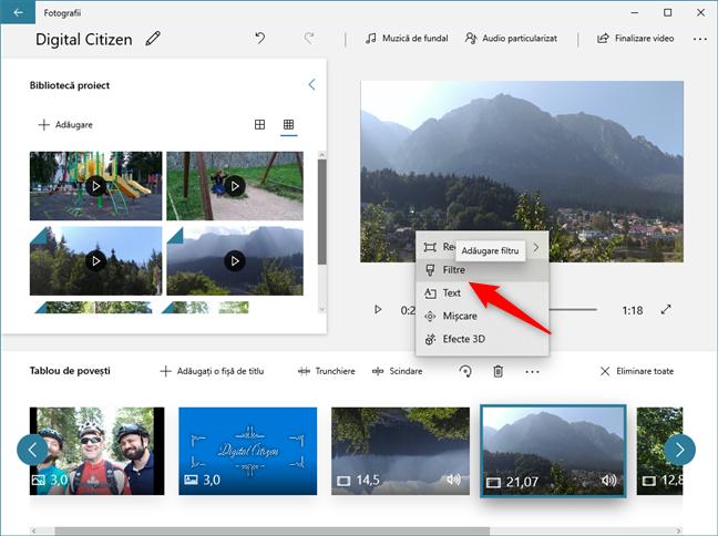 În Editor video poți să adaugi filtre peste videoclipuri și imagini