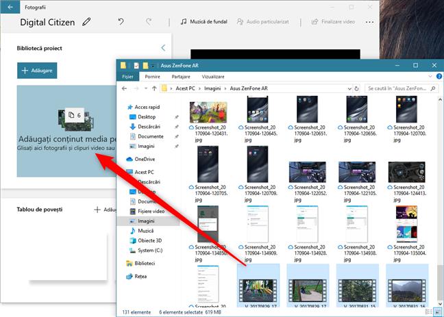 Tragerea de videoclipuri și imagini în biblioteca proiectului
