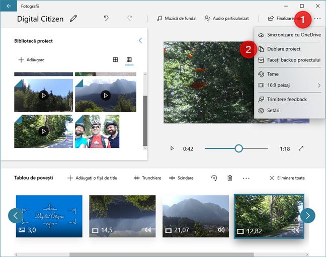 În Editor video, poți să creezi copii ale proiectelor video