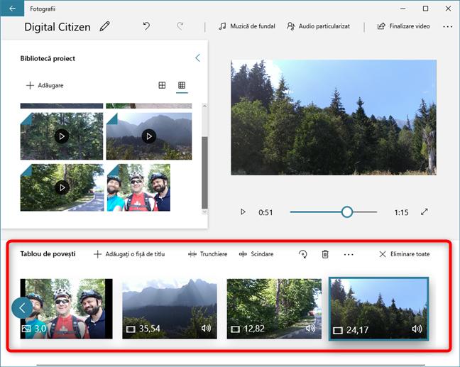 Clipurile video și imaginile pe care alegi să le folosești sunt adăugate la cronologie