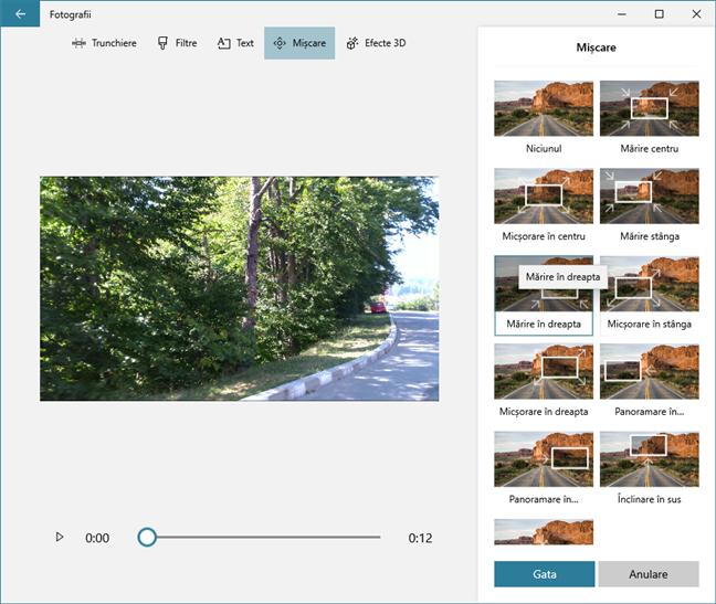 Lista de efecte de mișcare disponibile în aplicația Editor video