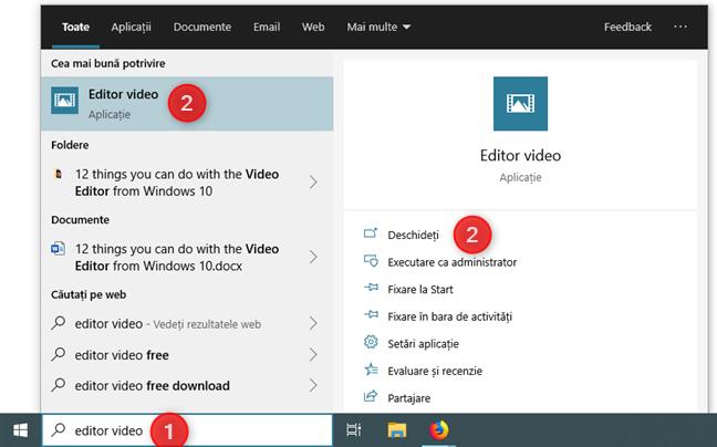 Deschiderea aplicației Editor video folosind căutarea din Windows 10